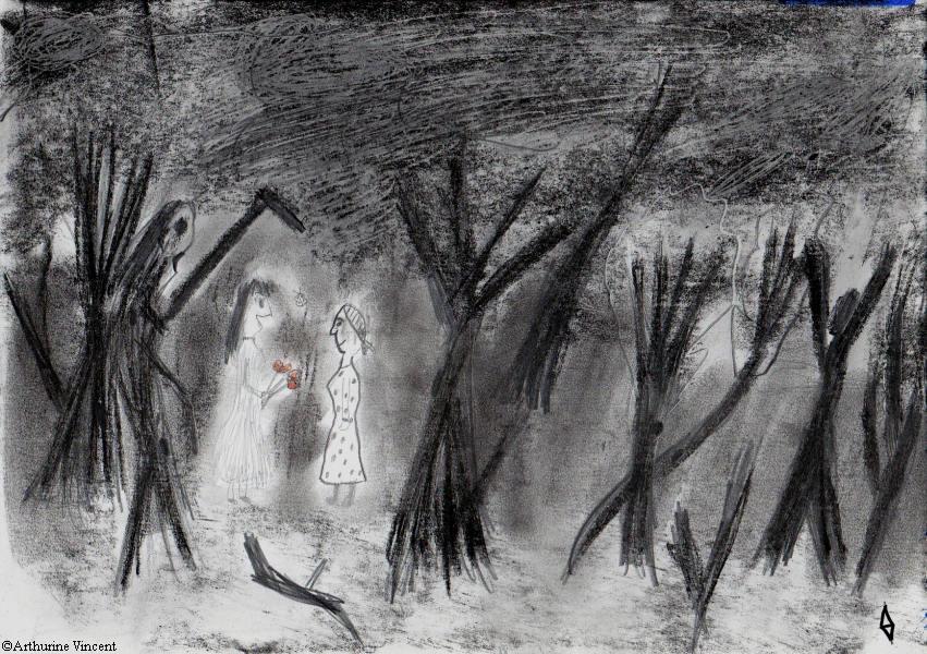Deux amies dans la forêt