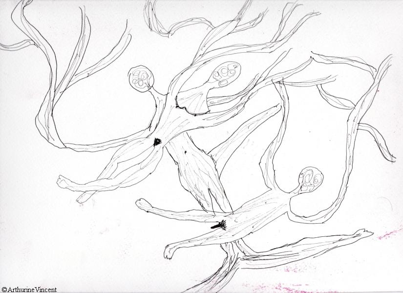Trois corps : un homme, une femme, un-e intersexe