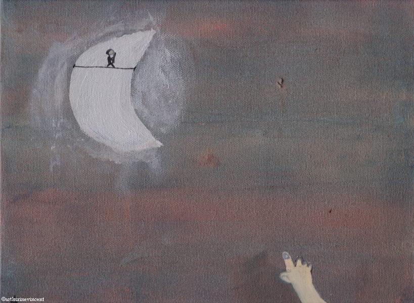 L'enfant seul voit le funambule sur la lune