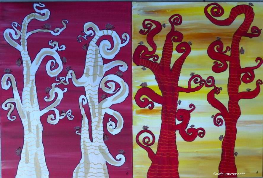 """diptyque """"les arbres aux hérissons"""""""